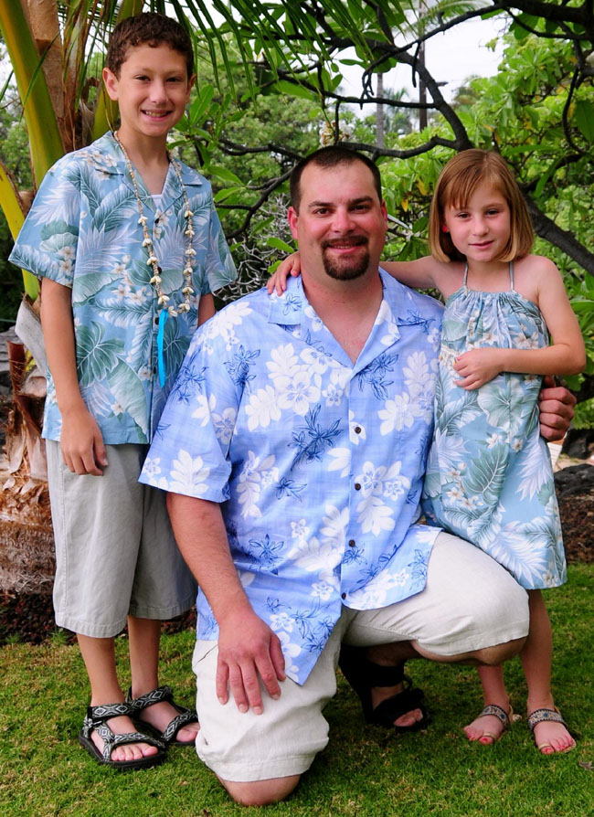 Hawaiian Clothing - Boys' Hawaiian Shirt, Men's Hawaiian Shirt, Girls' Spaghetti Strap Dress