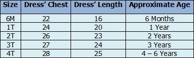 Girls' Hawaiian Bungee Dresses Size Chart