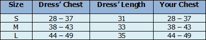 Women Hawaiian Tube Dress size chart